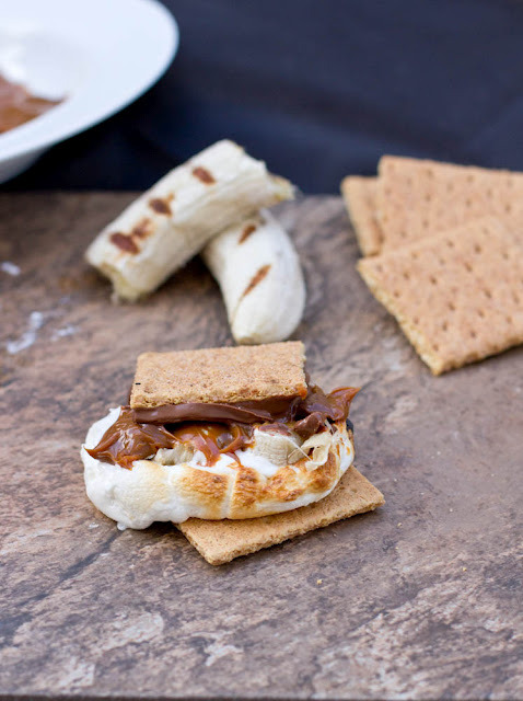 s'mores with bananas and dulce de leche.