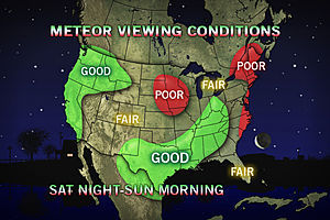 accuweather:  Spectacular Meteor Shower Should Be Visible to Most One of the best meteor shower events of the year will be happening this weekend, peaking late tonight. Most of the country should have at least a decent view.    yeah, it's pouring rain here… hmm.