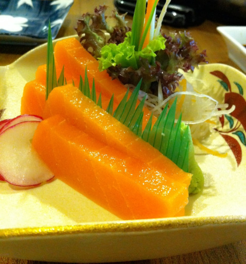Guess what? This is NOT sashimi. Well at least it's not real fish. It's made of soy and is much juicer than the real stuff.  Go veg ;)