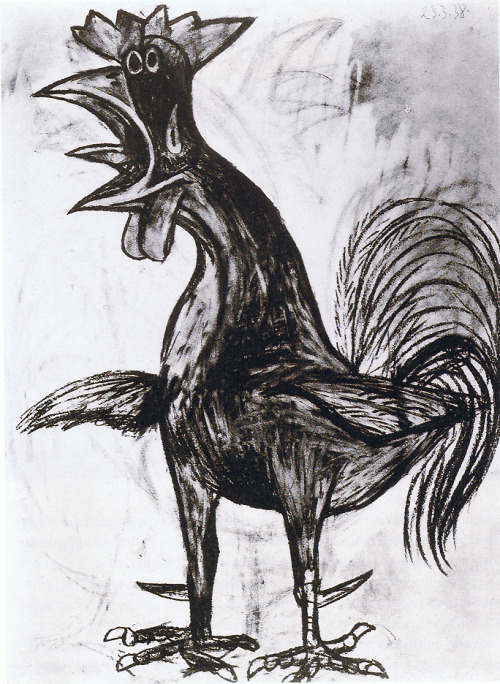 """Cockerel"", 1938  By: PABLO PICASSO…. * Sorry, but I have a ""thing"" for these drawings…. :)"