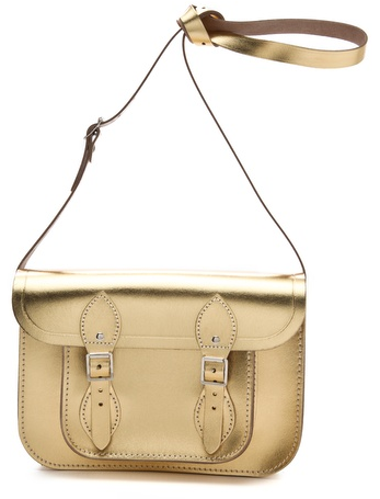 Gold metallic leather satchel by Cambridge Satchel
