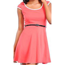 Stanzino Women's Coral Cap Sleeve A-line Dress with Skinny Belt- Overstock.comNow now, don't cringe just because the dress is from Overstock; it's got a low price that'll make you smile (29.99!). Plus, it's nice and casual, perfect for wearing to an early autumn football game.