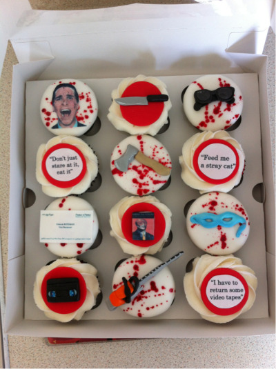 American Psycho cupcakes I had specially made for my boyfriend's birthday! Happy birthday Neil! Xx  AS IF these cupcakes have over 6000 notes now…MENTAL. Nooo idea what I'm gonna do to top these bad bois.