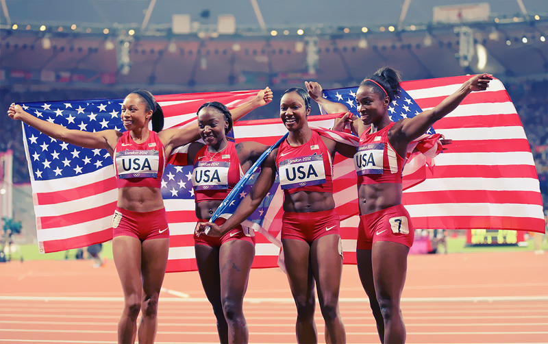 OLYMPICS DAY 14 Allyson Felix, Bianca Knight, Carmelita Jeter and Tianna Madison celebrate their gold medal win in Women's 4x100m Relay Final Photo by Alex Livesey