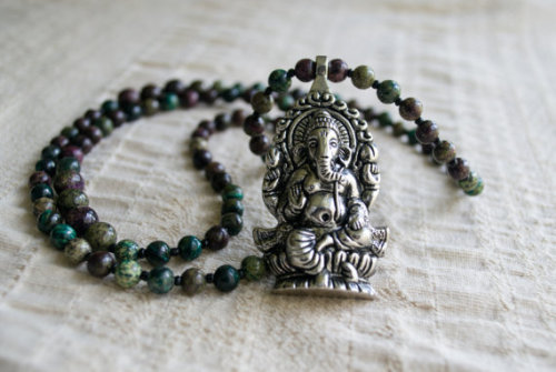 Dragon Spar Mala Beads with Ganesh Pendant * Yoga Jewelry