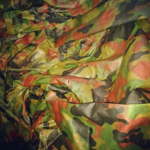Awesome #rare find today of original swiss #camouflage poncho. #swineswag #militarymax  (Taken with Instagram)
