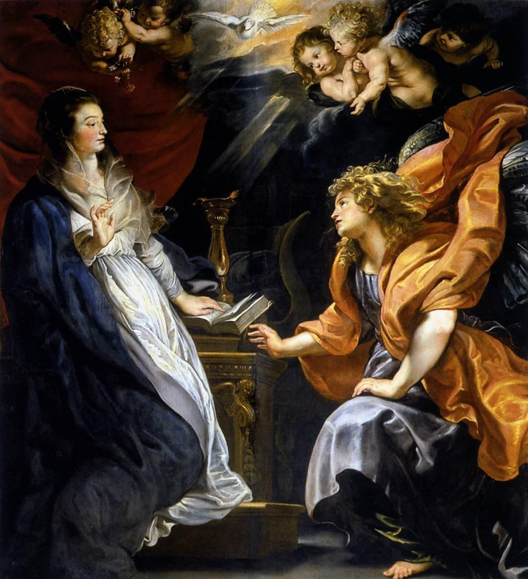 The Annunciation (1609-1610). Peter Paul Rubens (Belgium, Baroque, 1577-1640). Oil on canvas. Kunsthistorisches Museum. Rubens was a proponent of an extravagant Baroque style that emphasised movement, colour, and sensuality. He is well known for his Counter-Reformation altarpieces, portraits, landscapes, and history paintings of mythological and allegorical subjects. In addition to running a large studio in Antwerp that produced paintings popular with nobility and art collectors throughout Europe, Rubens was a classically educated humanist scholar, art collector, and diplomat who was knighted by both Philip IV, King of Spain, and Charles I, King of England.