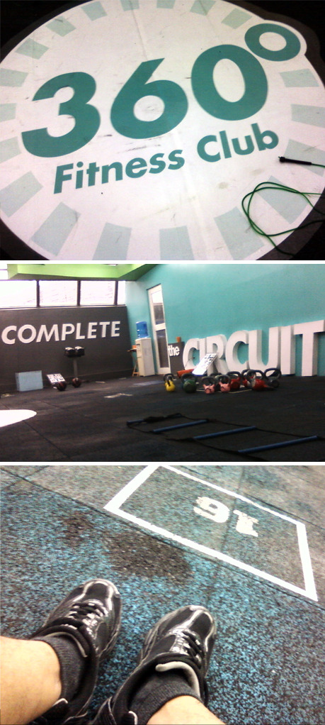 """Four more stations, two more rounds!"" Circuit training at 360 Fitness Club. :)"
