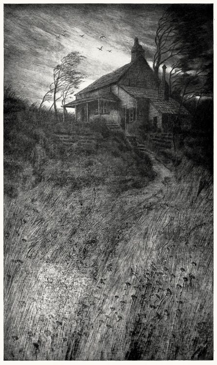 oldbookillustrations:  The Poe cottage, Fordham, New York. C. F. W. Mielatz, from American graphic art, by Frank Weitenkampf, New York , 1912. (Source: archive.org)