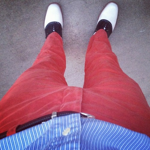 Red hot. #ootd #menswear #fashion #style #summer #prep #preppy #trad #shoes #lookingdown #gentleman #wiwt (Taken with Instagram)