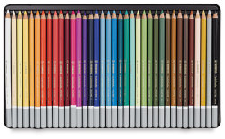 Stabilo CarbOthello Pastel Pencils. Semi-soft pastels in a wood casing to use and sharpen like a pencil. AND you can take water to it and paint out washes like watercolors. Color is opaque and blends nicely, and lifts with kneaded erasers. Very versatile and high-quality.  Available by special order at The Drawing Board.