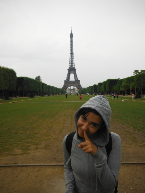Just the average pose everyone does by the Eiffel tower…