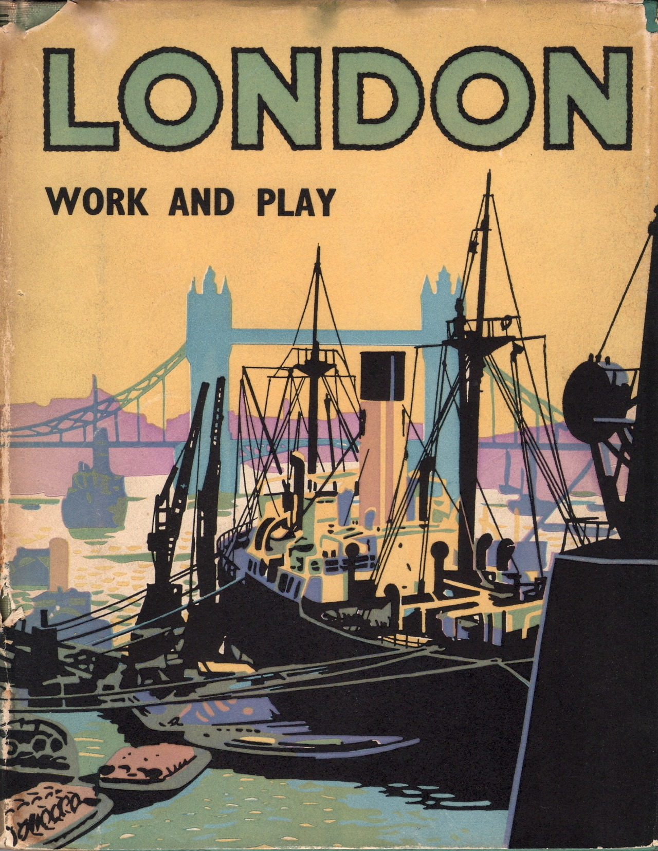 adventures-of-the-blackgang:  London, Work and Play - Harry Batsford, 1950Batsford produced books with highly recognisible covers - many by Brian Cook (who was to become Brian Batsford). This one is reminiscent of his work but I'm not sure if it is one of his.