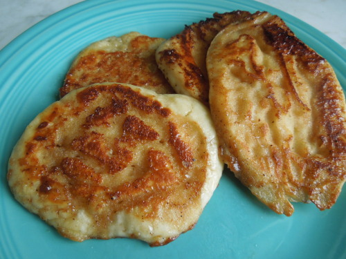 Cinnamon Roll Pancakes! Good recipe. They really taste like a cinnamon roll. I skipped on making the cream cheese glaze. :)