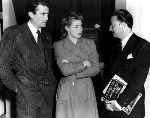 "Gregory Peck, Ingrid Bergman and Salvador Dali on the set of ""Spellbound"""