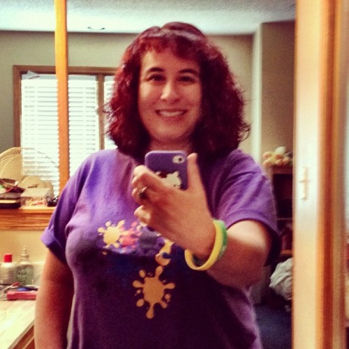 #Day11 of @fatmumslim's #photoadayaug is #purple! My #favoriteColor is purple! 😊 So here I am #already for #church in my purple #KidzWorld #Tshirt!  (Taken with Instagram)
