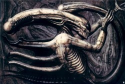 I am writing an essay on motherhood as it is depicted in the first two Alien movies and it got me to thinking about how amazing Giger's art is. This piece here is the one that originally inspired the aesthetic of the movies, the look of which Giger would come to play a large part in designing. ~ H.R. Giger Necronom IV, 1976