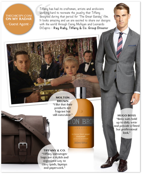"Hugo Boss men's suits, $795-$1,045; Molton Brown London bath and body; Tiffany & Co. leather messenger bag, approx. $995; and ""The Great Gatsby"" movie."