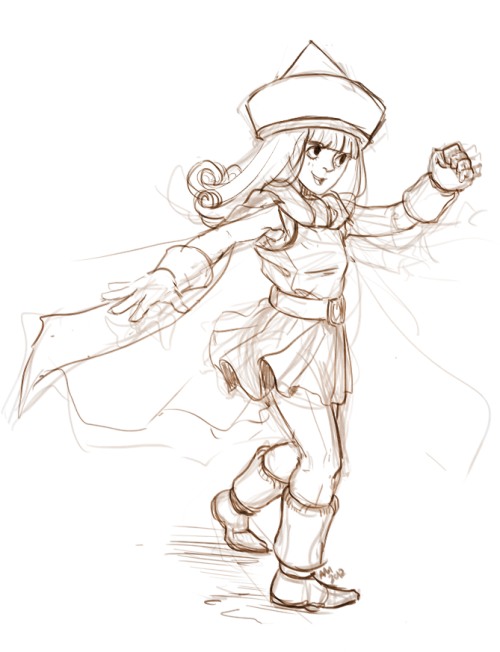 kichisu:  Alena - Dragon Quest IV/4 : sketch of the day  Playing DQ4 sure make me feel like a kid again! The feeling of not able to put away a game cause it is entertaining ♥
