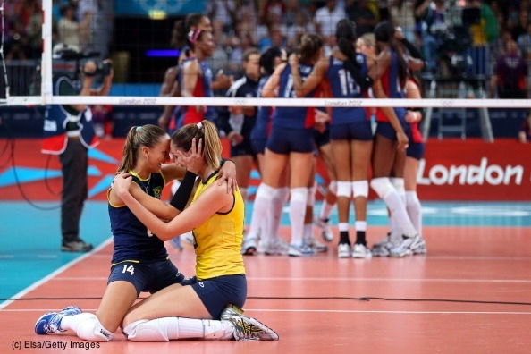 Team BRA has won gold in their Women's volleyball match against team USA