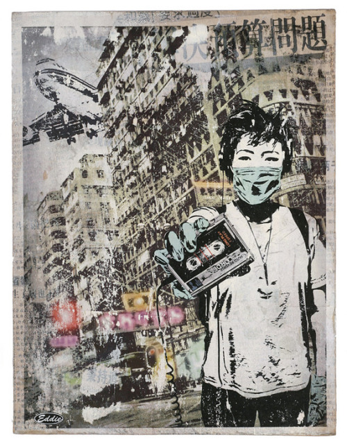"Eddie Colla - ""Air Kowloon II""Image transfer, Acyrlic paint, Spray Paint shellac and newspaper on found woodVaried hand painted edition of 20Part of Spoke Art's Summer Group Show - on view at our San Francisco gallery from August 2nd - 25th 2012. View the rest of the works from this dynamic group show here -http://store.spoke-art.com/collections/summer-group-show"