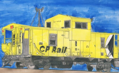 My caboose… watercolour and ink.  Took about 3-4 hours just to draw, about 2 to paint… sloppily that is… but fun :P