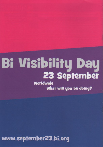 bisexual-community:  Bi Visibility Day - held every September 23rd since 1999 Worldwide What will you be doing?  Yay!!! *happy dance*