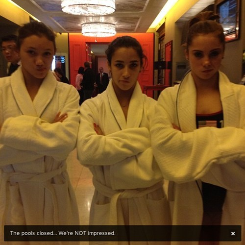 thedailywhat:  Self-Aware Athletes of the Day: Aly Raisman, McKayla Maroney ans Kyla Ross are #notimpressed. [buzzfeed]