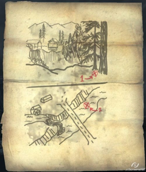 "treasure maps 1 -10 map 1:  Map Location: After leaving Helgen and splitting ways with Ralof / Hadvar at the beginning of the game, follow the dirt path until it meets a cobblestone road. Turn left. Follow this road until coming to a sign with directions to Riverwood, Helgen and Falkreath. Take the first left after this sign (traveling SW) then look left while walking down the path. It will be on one of the bandits in the small camp. A copy of Night Falls on Sentinel (A One-HandedSkill Book) is here. Keep this book as it is a part of the misc quest Bring one Night Falls on Sentinel to Rustleif Treasure Location: Outside of Riverwood. Cross the river and there will be a hollow fallen down tree trunk. Look inside. map 2: Map Location: In a knapsack, in Journeyman's Nook. Treasure Location: Valtheim Towers just east of Whiterun. In a chest nestled in some rocks next to the river, just east of the keep. map 3: Map Location: found in Riverside Shack. There will usually be a sabre cat or a cave bear inside, feasting on the bones of a fisherman. (Note: In the shack is a book named ""Rislav The Righteous"" which levels Light Armor under two other books to the left of the bookshelf.) Treasure Location: follow the shore line around the north east side of the Solitude Lighthouse, north east of Solitude. The treasure chest is behind a rock on shore. (Note: there are two Nirnroot in the area - one just north of the lighthouse, one just south.) map 4: Map Location: Found in Redoran's Retreat in a chest near the bandit chief. (Note: The 1.2 game update may be causing the treasure to not be present for some players even with the treasure map. The 1.3.7.0 update fixes this regression.) Treasure Location: It leads to a treasure located behind Pelagia Farm south and slightly west of Whiterun. There is a random spawn dragon that may appear near the place when heading up the small mountain. It may or may not land. Continue past the site where the dragon attacked and go up the slope. The chest is near some vegetation up the slope. map 5: Map Location: In an end table in the bedroom at Angi's Camp. Treasure Location: Near the base of Bard's Leap Summit. After plummeting from the large waterfall, follow the leftmost aqueduct (taking the path down is suggested) all the way down. The chest can be found at the very base where the fall meets the lake. The chest is under water by a large rock, but visible. map 6: Map Location: An easier way to find the dead female Wood Elf is to head NNW from Volunruud up hill toward the top of the mountain (towards the Shrine of Mehrunes Dagon) until encountering a blood trail. Follow the blood trail to the left into a rock outcropping to find her. A leveled bow is along the trail. At the other end of the blood trail lies a dead male Wood Elf; suggesting an altercation that occurred over the map. NOTE: If more or less heading up hill directly from Volunruud with W and N visible on the compass, this map can be found easily. Treasure Location: Korvanjund; the chest is located on top of the archway by the tree. map 7: Map Location: In a locked chest in Traitor's Post. Treasure Location: Inside the walls and to the right in Gallows Rock, which is a Silver Hand fort located southwest of Windhelm and directly north of Fort Amol. map 8: Map Location: The map is found on the body of a Hunter killed by some Horkers just southeast of Bleakcoast Cave between the Wreck of The Pride of Tel Vos and the Wreck of The Winter War. Treasure Location: Dragon Bridge farm. First X is located against a tree on the opposite side of the bridge as the mill. Second X is located underwater beneath the bridge. map 9: Map Location: Found on the body of Lucky Lorenz in Lucky Lorenz's Shack, next to Abandoned Prison. Treasure Location: Hidden behind the cataract of the waterfall south of Riften. It's on the far side of the mountain that's due south of Riften. Follow the path around the mountain till you get to a bridge. The left bank of the stream leads up to a bandit hold, Broken Helm Hollow, and also to a point where you can cross behind the falls. map 10: Map Location: found in Stony Creek Cave, on a bandit at the Alchemy Lab. Treasure Location: from The Lady Stone face the peninsula to the east of Ilinalta's Deep, at the bottom of the lake where the X is. Use the Local Map to pinpoint your location since the water is very murky and the chest will be difficult to see until you're right on top of it."