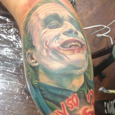 Heath Ledger's Joker by Stevie Monie of Pinz and Needlez Tattoo Studio in Edgewood, MD.www.tattoomoney.comwww.pinzandneedleztattoo.com
