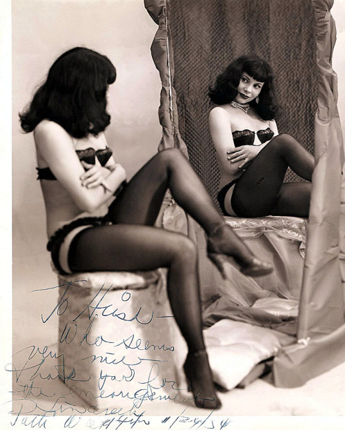 burleskateer:  Patti Waggin Vintage promo photo from 1954, personalized to Burlesque enthusiast and collector: Hirsh Cohen..