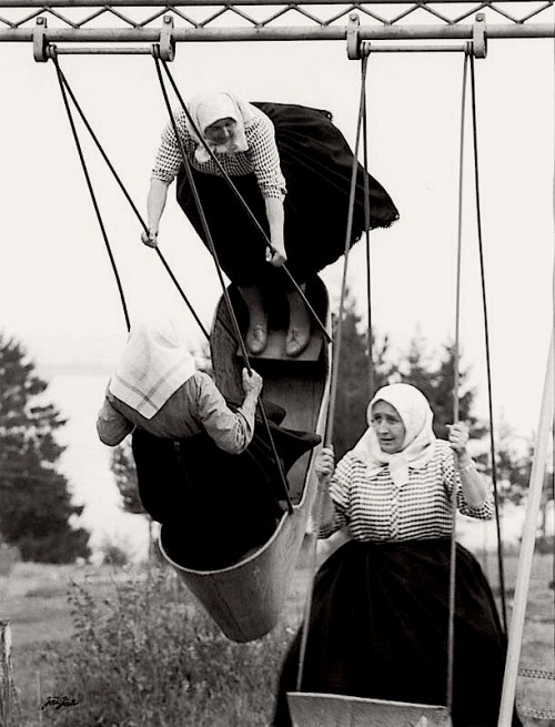 "luzfosca:  Jirí Jíru Swinging grannies, Slovakia, 1966 From ""Poetry of Totalitarian Regime"", Prague"