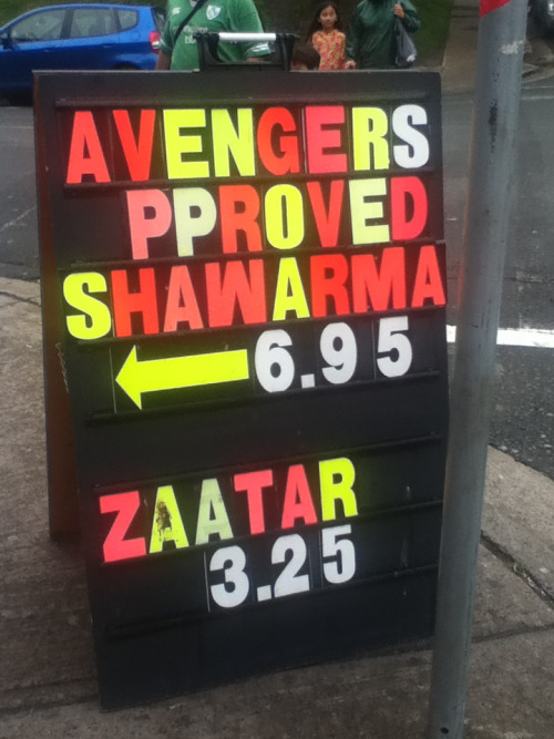 karlaizen:  Avengers Approved Shawarma. Found this downtown today with Ravenesspro