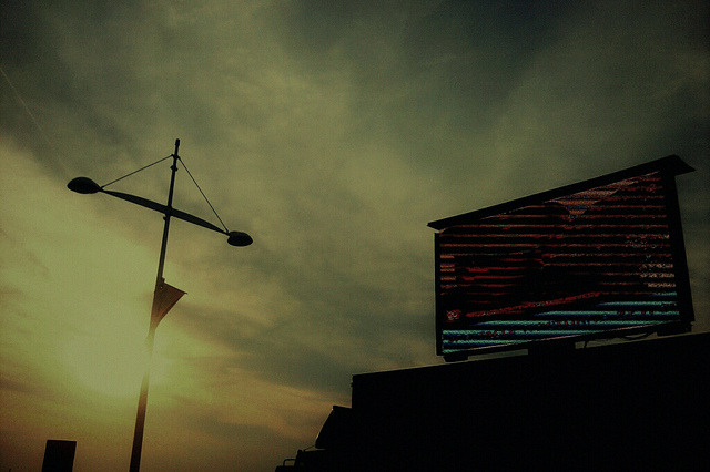 Untitled on Flickr.Big screen in the sunset