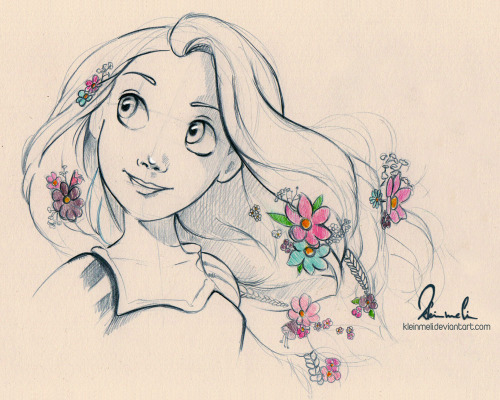 "kleinmeli:  First sketch for the next ""Disney Woman"" piece…Rapunzel. I think she will be fun to draw. :)"