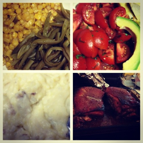 String beans and corn, garlic tomatoes and avocado, garlic mashed potatoes, and delicious Roasted Boston Pork Butt spiced with mustard and brown sugar #foodie #yummy #delicious #picstitch (Taken with Instagram)