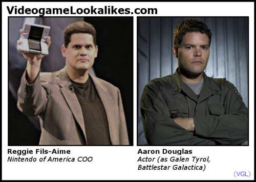 Reggie Fils-Aime (Nintendo of America) looks like Aaron Douglas (Battlestar Galactica) I always figured Reggie was a Cylon, due to his penetrating stare, metallic sheen, and ability to transform into a '57 Buick. If at this point you begin to suspect that I've never actually watched Battlestar Galactica, just keep it to yourself. It'll be our little secret.