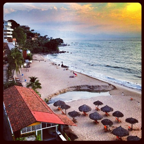 Made to the beach! #puertovallarta #mexico #beach #sunset (Taken with Instagram at Blue Chairs Beach Resort Hotel)