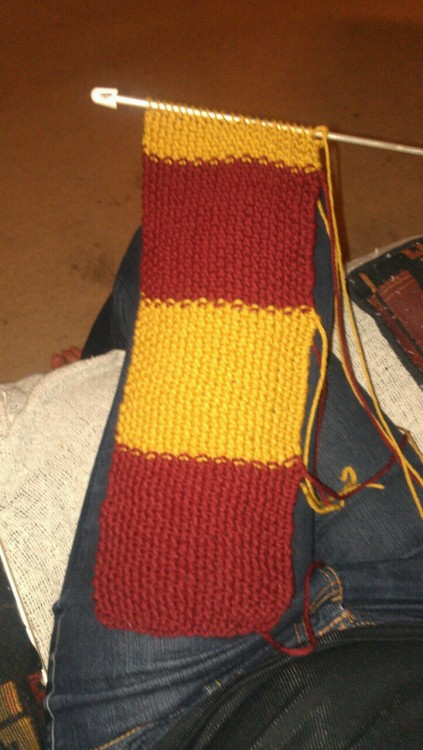justtheknits:  My harry potter scarf! I think it's really coming along. I'm so happy I know how to purl now! :)  Anağm, ben de yapacağım ya!