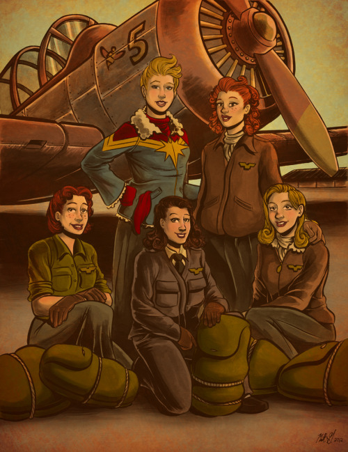 "Captain Marvel and the W.A.S.P.S. | by Matt Grigsby (grigsbyartpad)  Via grigsbyartpad: ""Awhile ago, I was listening to the amazingly talented and wonderful Kellysue Deconnick discuss her work on Captain Marvel and the inspirations behind Carol's new role over on iFanboy. While listening to this great podcast, I discovered we both have a deep rooted love and admiration for WWII fighter pilots and the history surrounding them. She began discussing the role of W.A.S.P.S. (Women Airforce Service PilotS), their bravery and the bullshit they endured during that era in the USA. That interview got me immediately inspired to begin creating this piece in celebration of the strength that our female pilots displayed, and the excellent work and respect Kelly is putting into Carol Danvers. It's pretty rad Kelly and I both live in Portland and I've been able to chat with her about all of this! :) Anywho, if you haven't been exposed to any of her work yet, check out Kelly's site here: http://www.kellysue.com/ There are some seriously cool projects slated for you to check out!"""