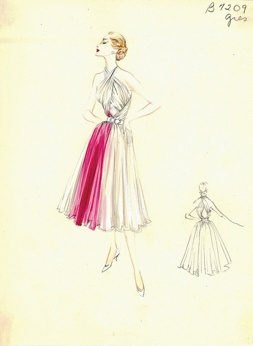 theniftyfifties:  Fashion sketch by Madame Gres, 1950s.