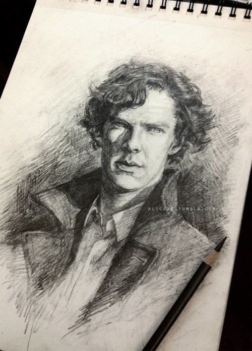"alicexz:  A straightforward sketch of Sherlock. Pencil on 9x12"" Canson Drawing paper. If you'd like to purchase the original ($150), send me an ask. :)"