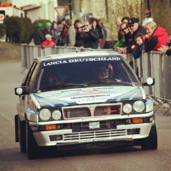 Lancia Delta HF Integrale racing the Langenburg Classic Hillclimb, Germany, April 2012 by rpiereck on Instagram