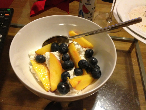 …followed by cottage cheese with blueberries and peaches.