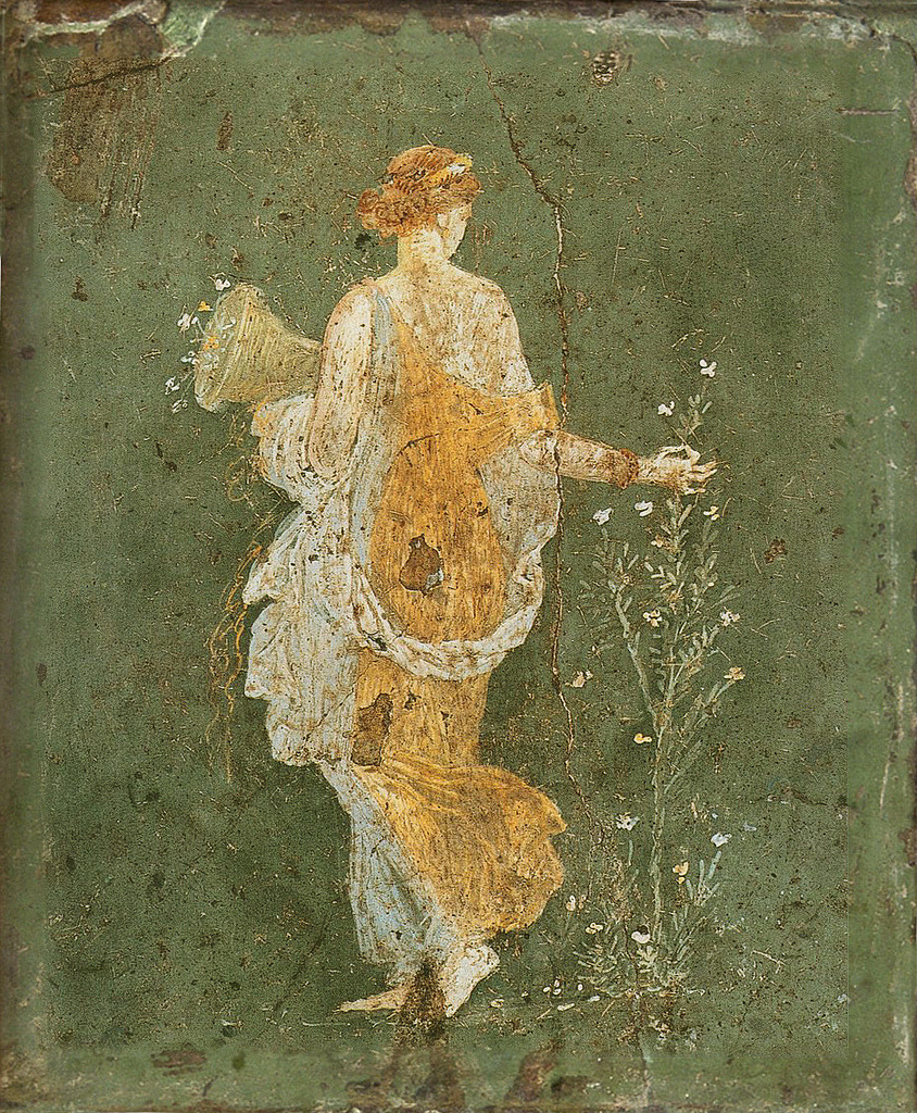 ancientart:  Flora Ancient Roman fresco from Pompeii. 1st Century AD, currently located at the National Archaeological Museum, Pompeii.
