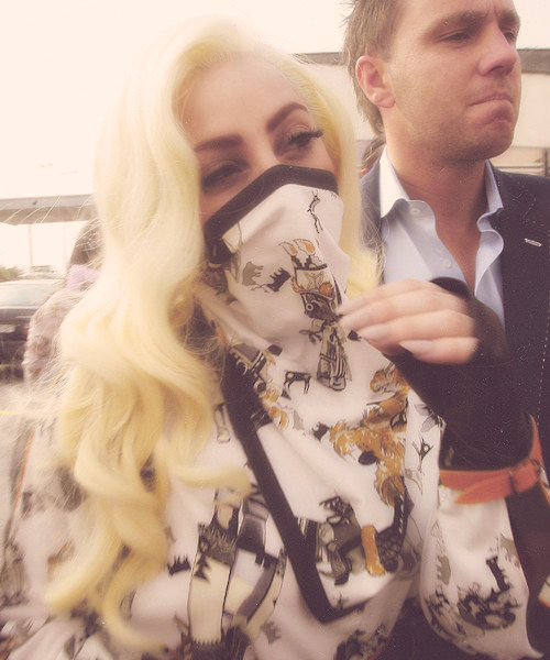 Lady Gaga arriving in Bulgaria.