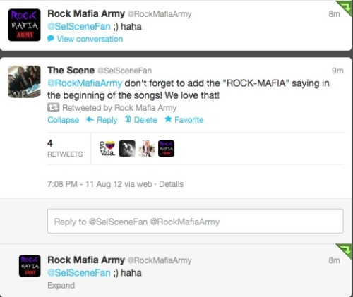 Rock Mafia retweeted and responded to us! Wooo! Follow us @SelSceneFan