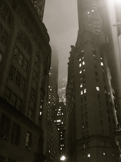 wanderingnewyork:  Looking up at buildings in the Financial District at night  I miss living in New York City. I miss loved ones. They are gone from this world now. Twelve years ago, they were alive. I miss you, my Husband. And my Father, and Phyllis, Aunt Bertha, Grandma Sylvia, Cousin Celia, Mel. I miss you, I think of you every day. The grief is unrelenting. I love each of you. Always. Always. In my mind and in my heart. I wish I had appreciated, been kinder, more respectful, more devoted, more loving to you, when you were alive. Now you are gone. Forever. I love you. I miss you. ~~~~~~~~~~~~~~~~~~~~~~~~~~~~~~~~~ I think that I will be taking a break from Tumblr for awhile. I need to seriously look for, and find gainful employment. It is dire. To any who may be reading this, please feel free to find me elsewhere on the internet, anywhere. Look on the right, in the sidebar. That is a good place to start, if you are so inclined. Thank you for two good years here. - Ellie