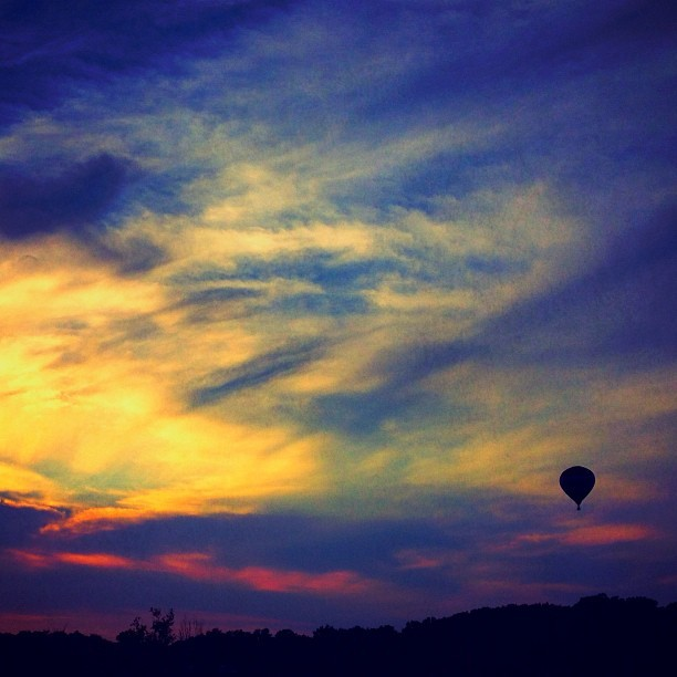 Hot air balloon at sunset in Wisconsin tonight. Edited with the Wood Camera app #woodcamera