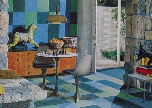 1960s interior - room with psychedelic Victrola